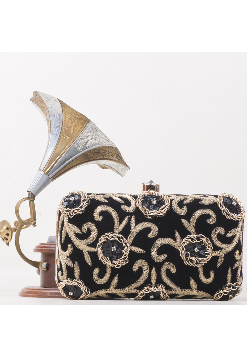 Black Synthetic Embroidered Clutch 177070
