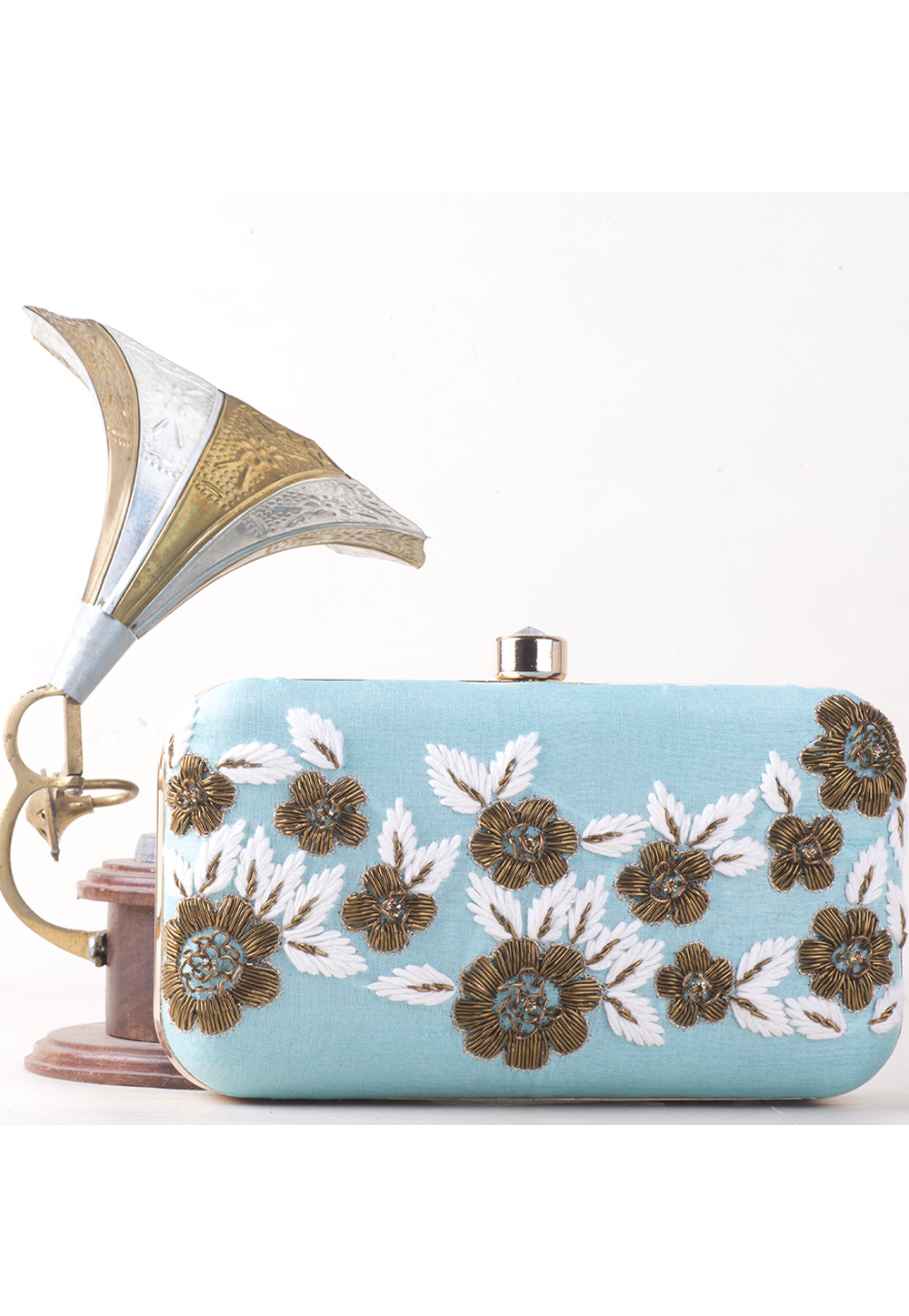 Light Blue Synthetic Embroidered Clutch 177071