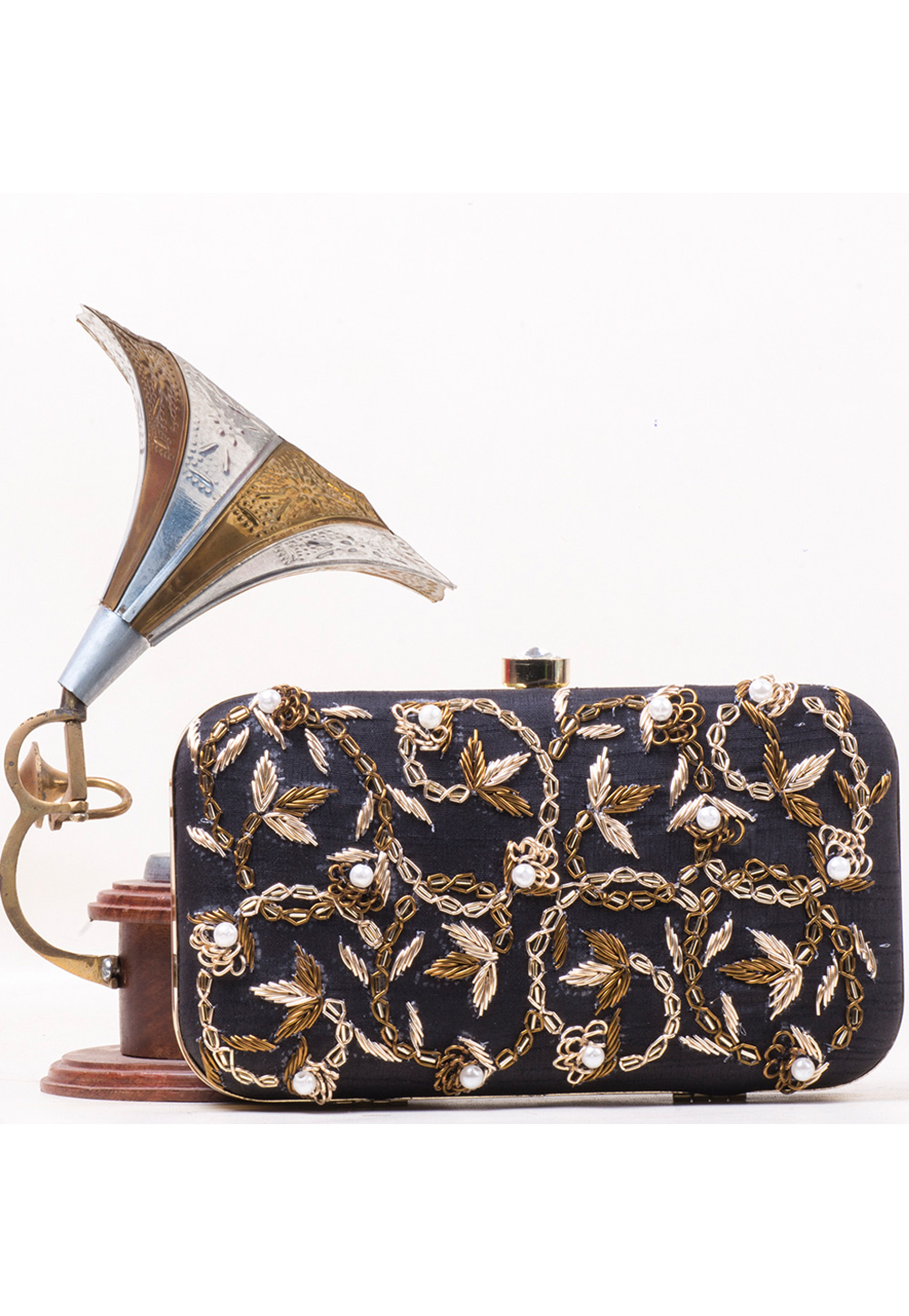 Navy Blue Synthetic Embroidered Clutch 177072