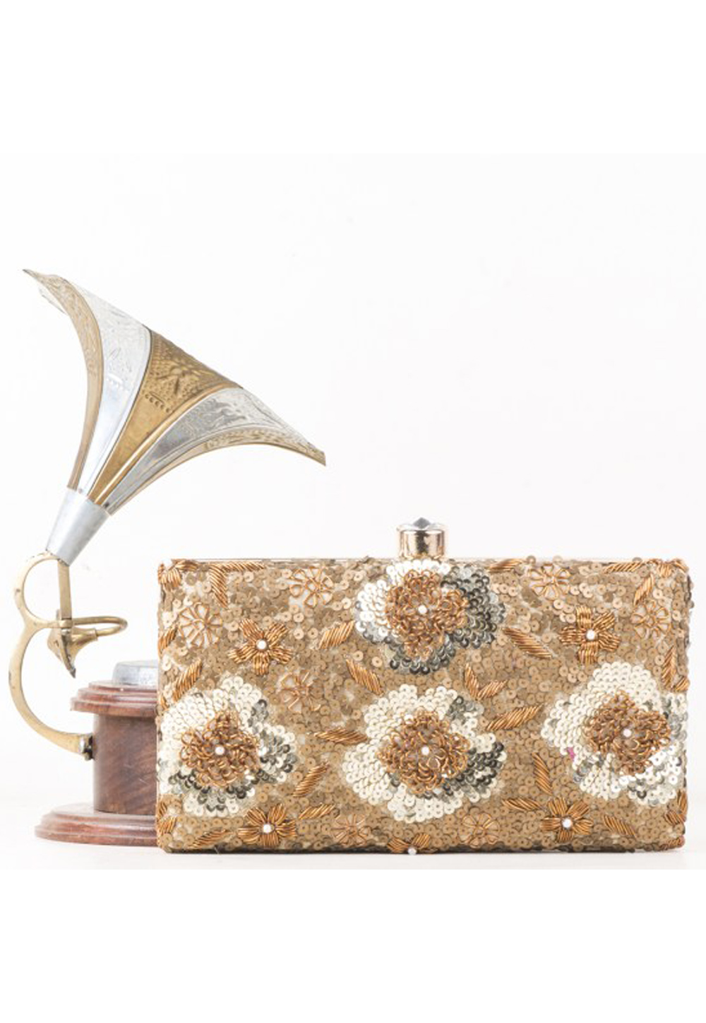 Beige Synthetic Embroidered Clutch 177073