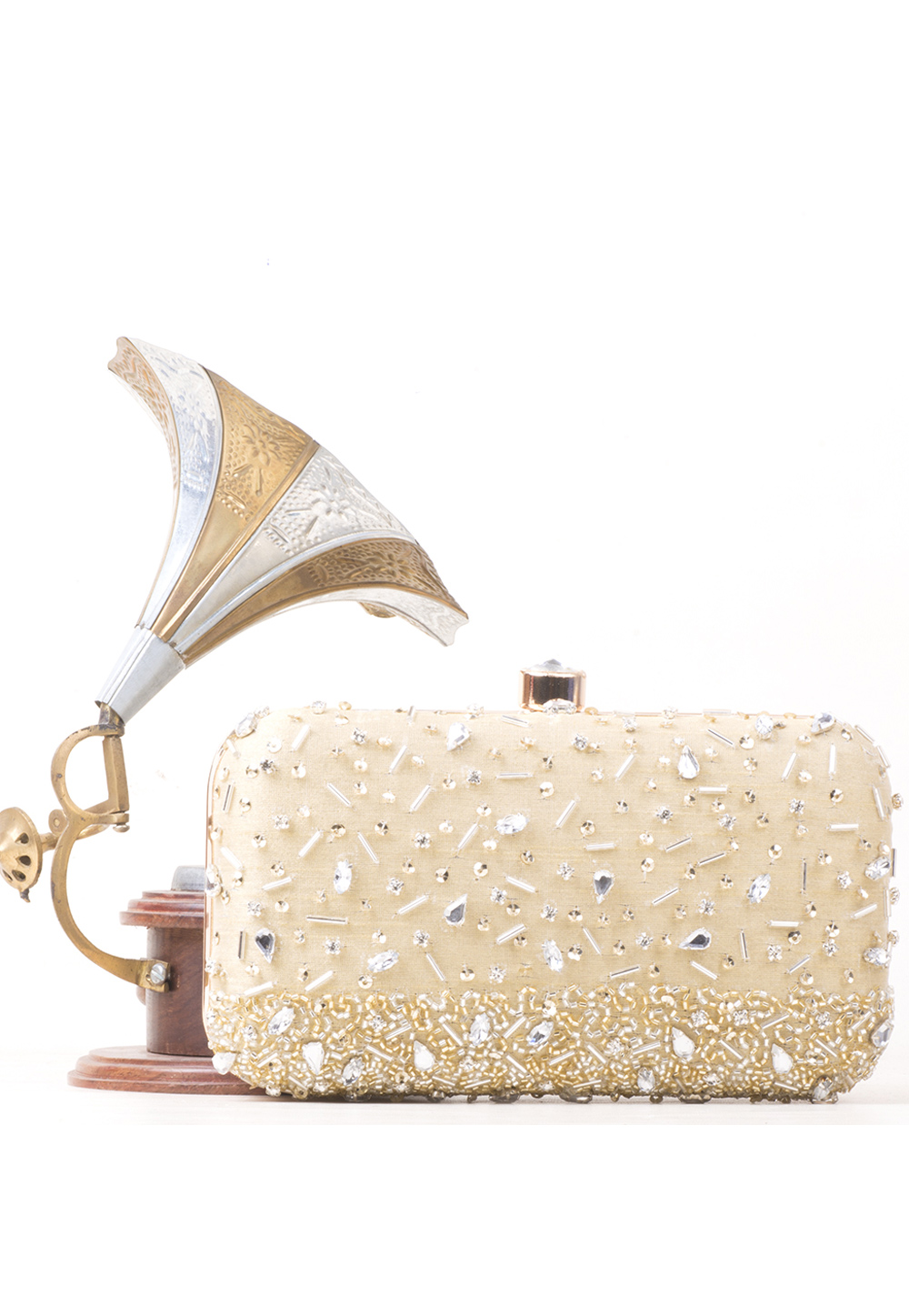 Beige Synthetic Embroidered Clutch 177075