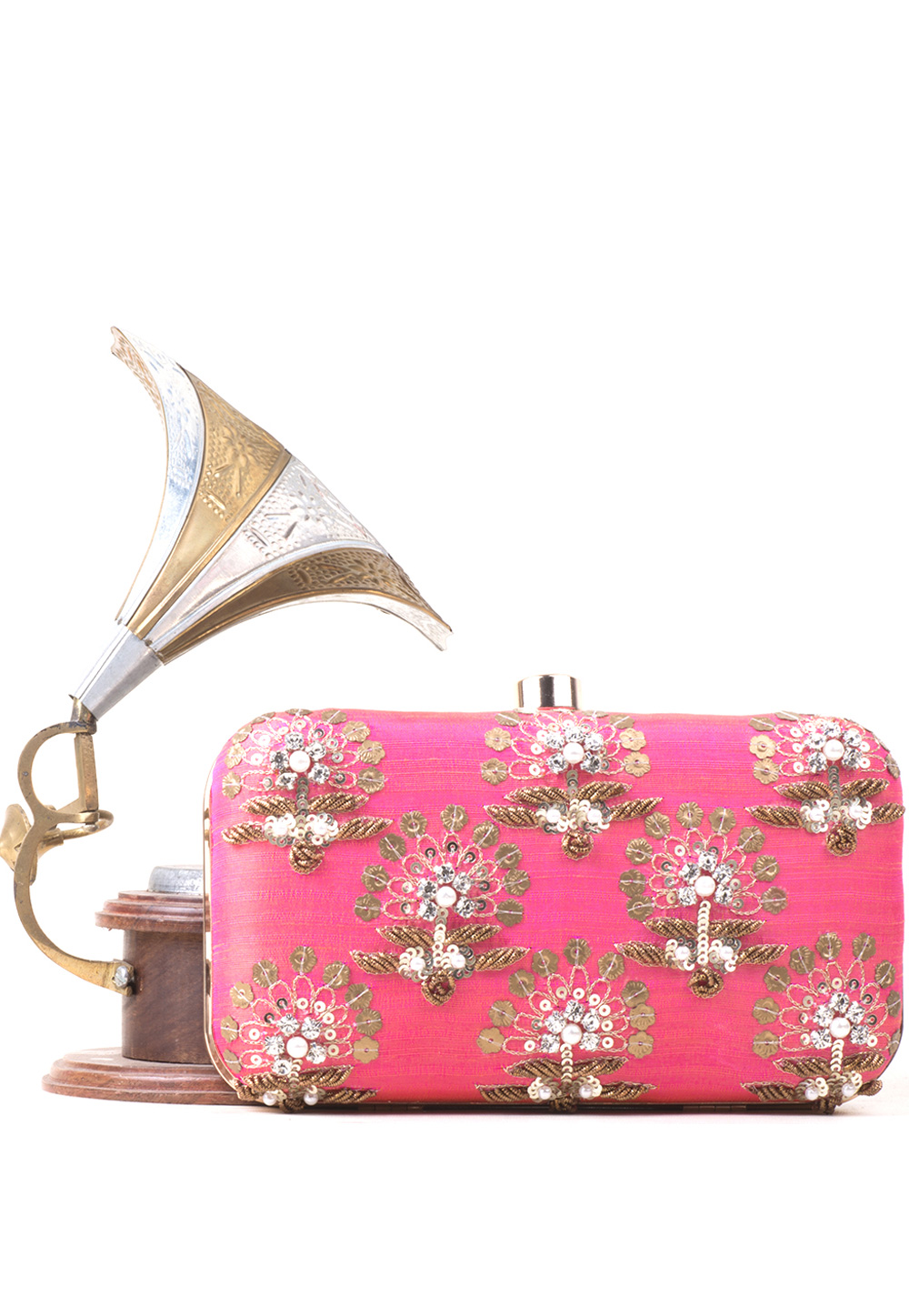 Pink Synthetic Embroidered Clutch 177077