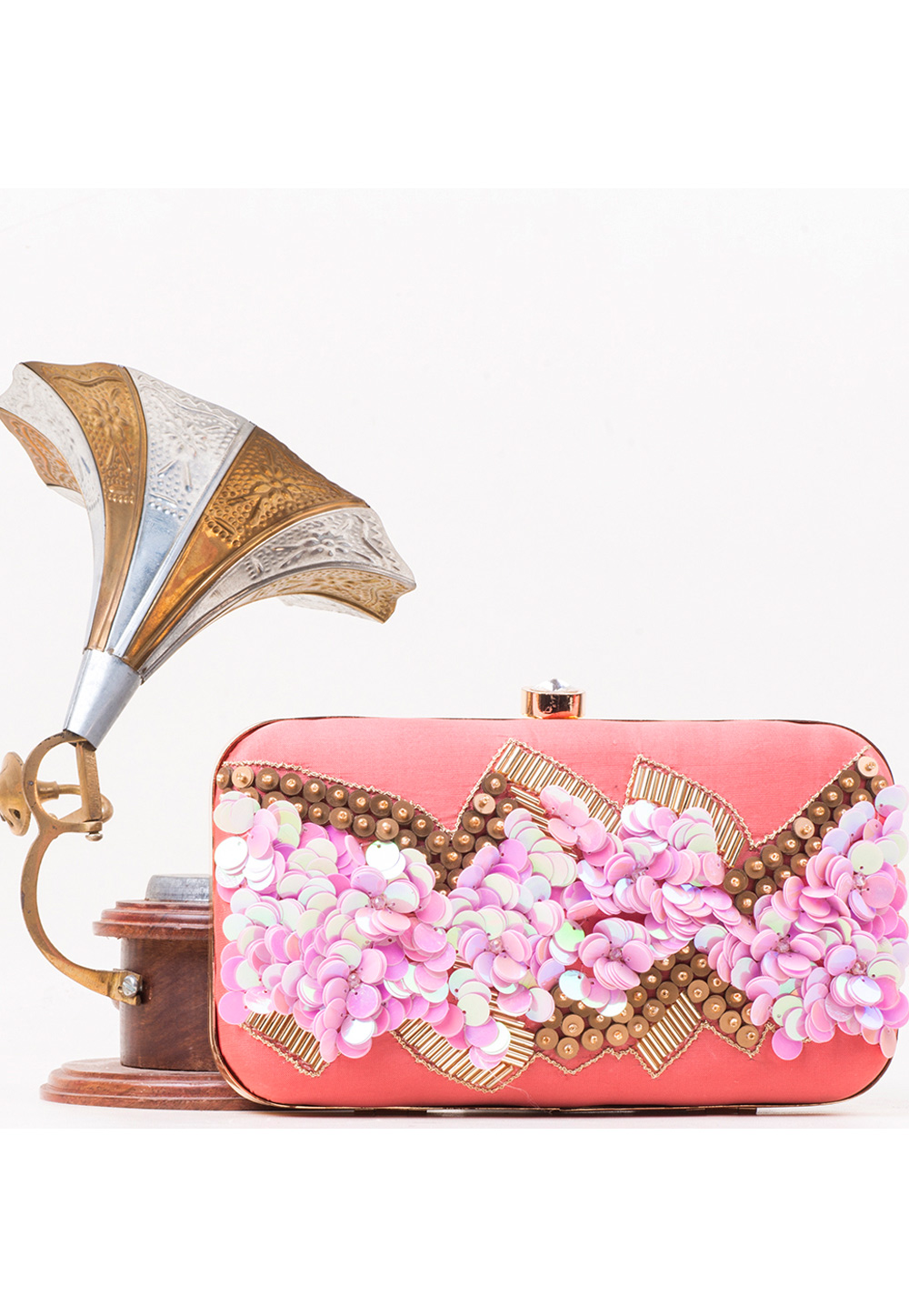Pink Synthetic Embroidered Clutch 177079