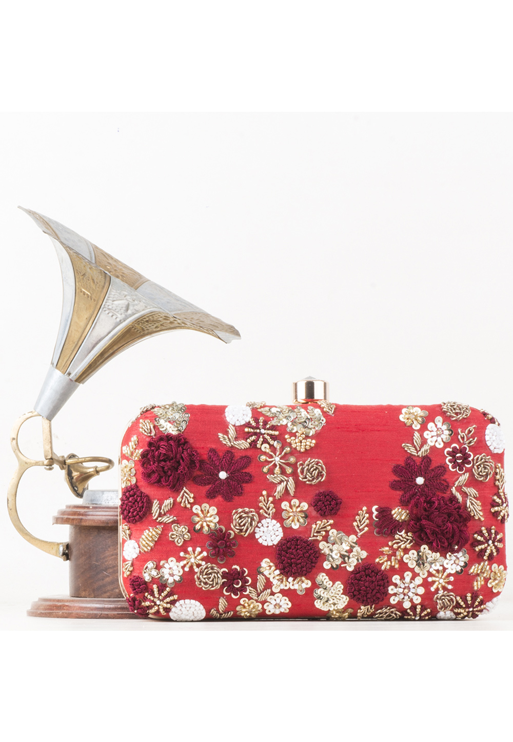 Red Synthetic Embroidered Clutch 177080