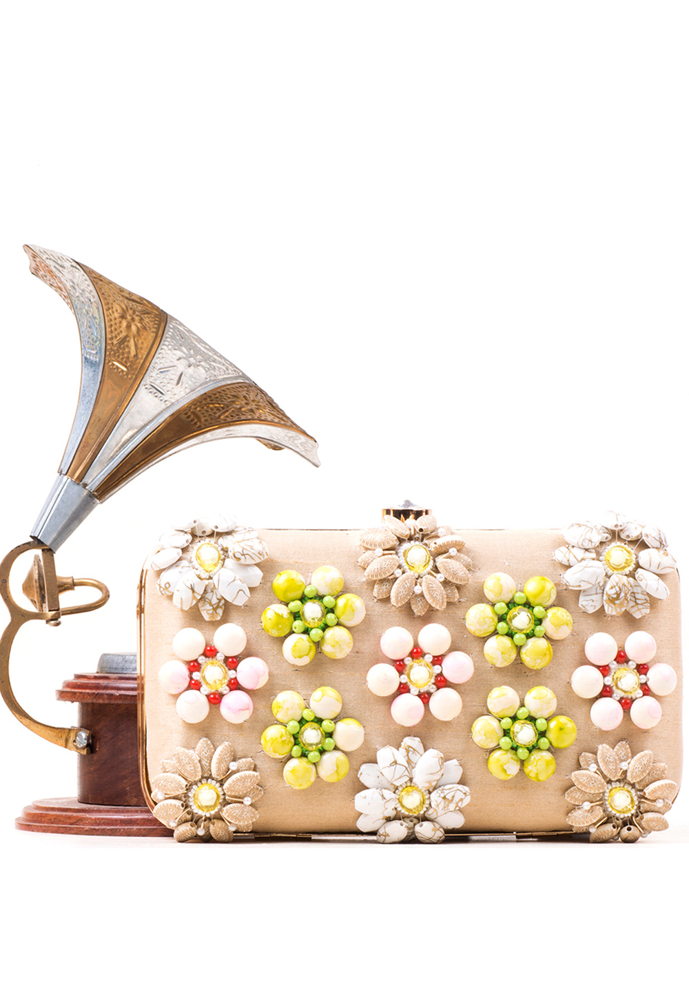 Beige Synthetic Embroidered Clutch 177081