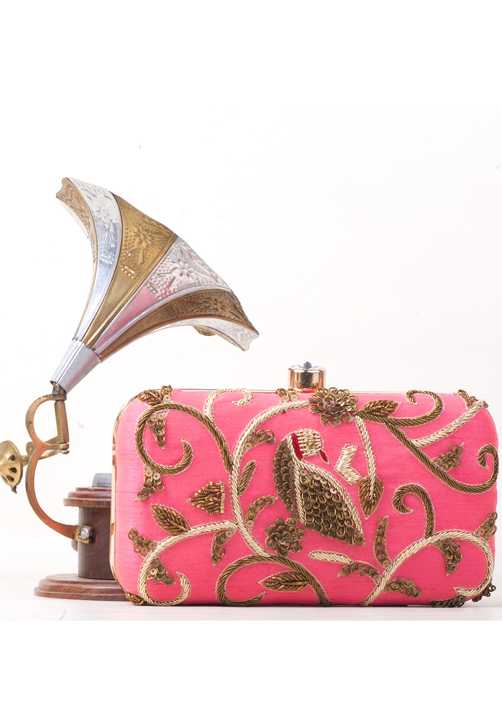 Pink Synthetic Embroidered Clutch 177082