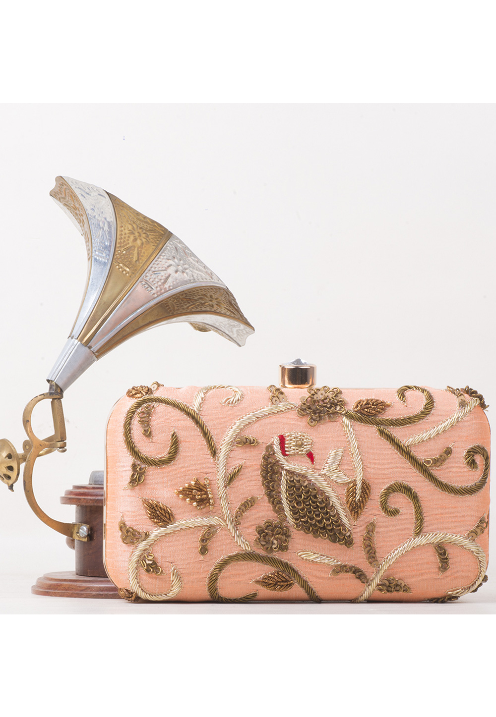 Peach Synthetic Embroidered Clutch 177083