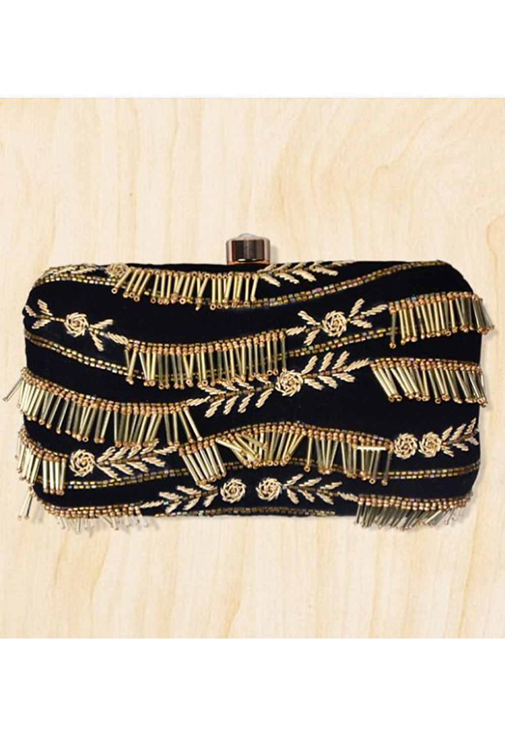 Black Synthetic Embroidered Clutch 177084