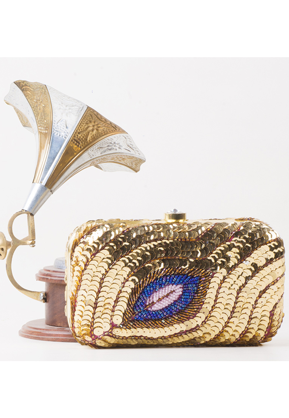 Golden Synthetic Embroidered Clutch 177086