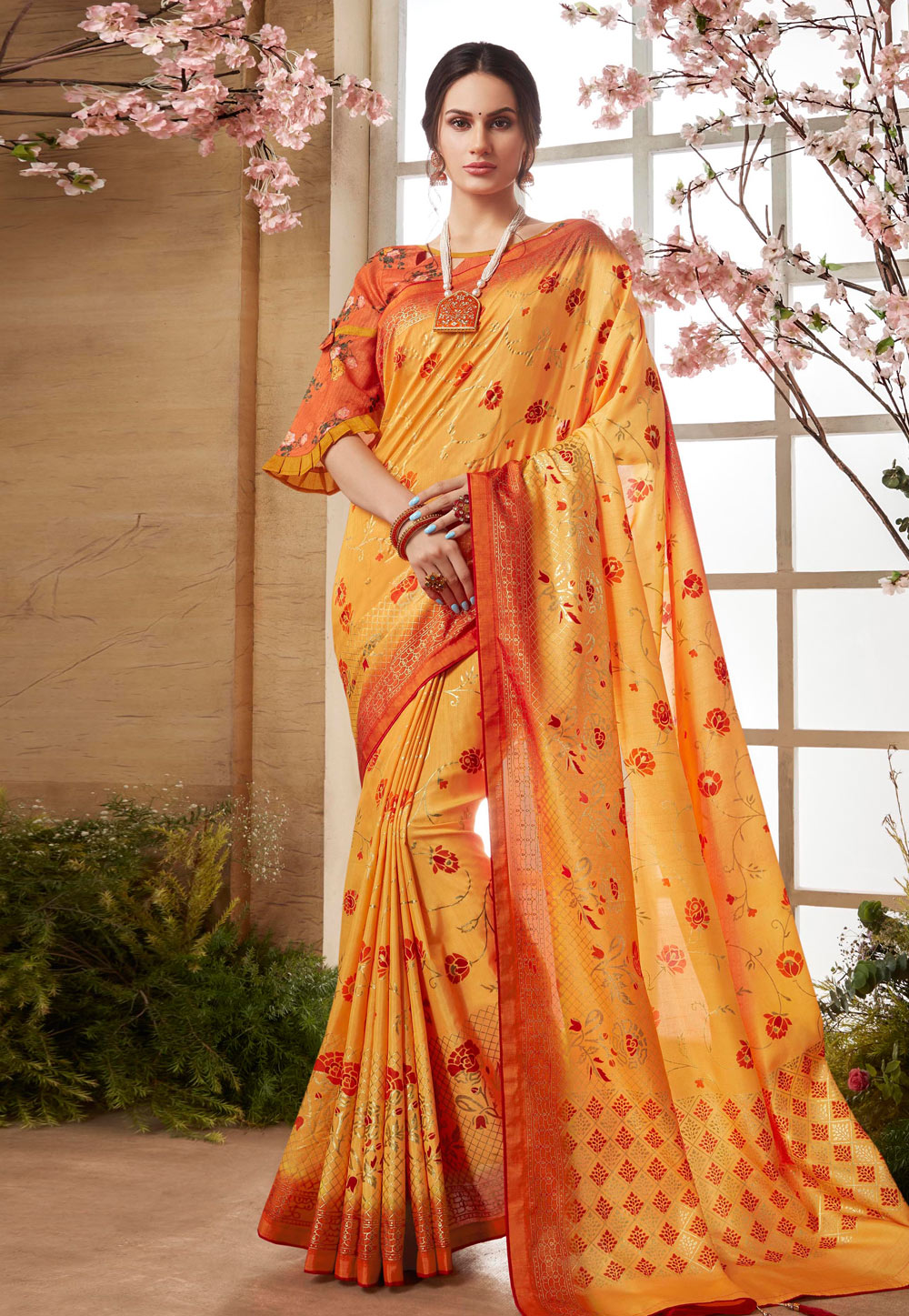 Yellow Silk Festival Wear Saree 179103