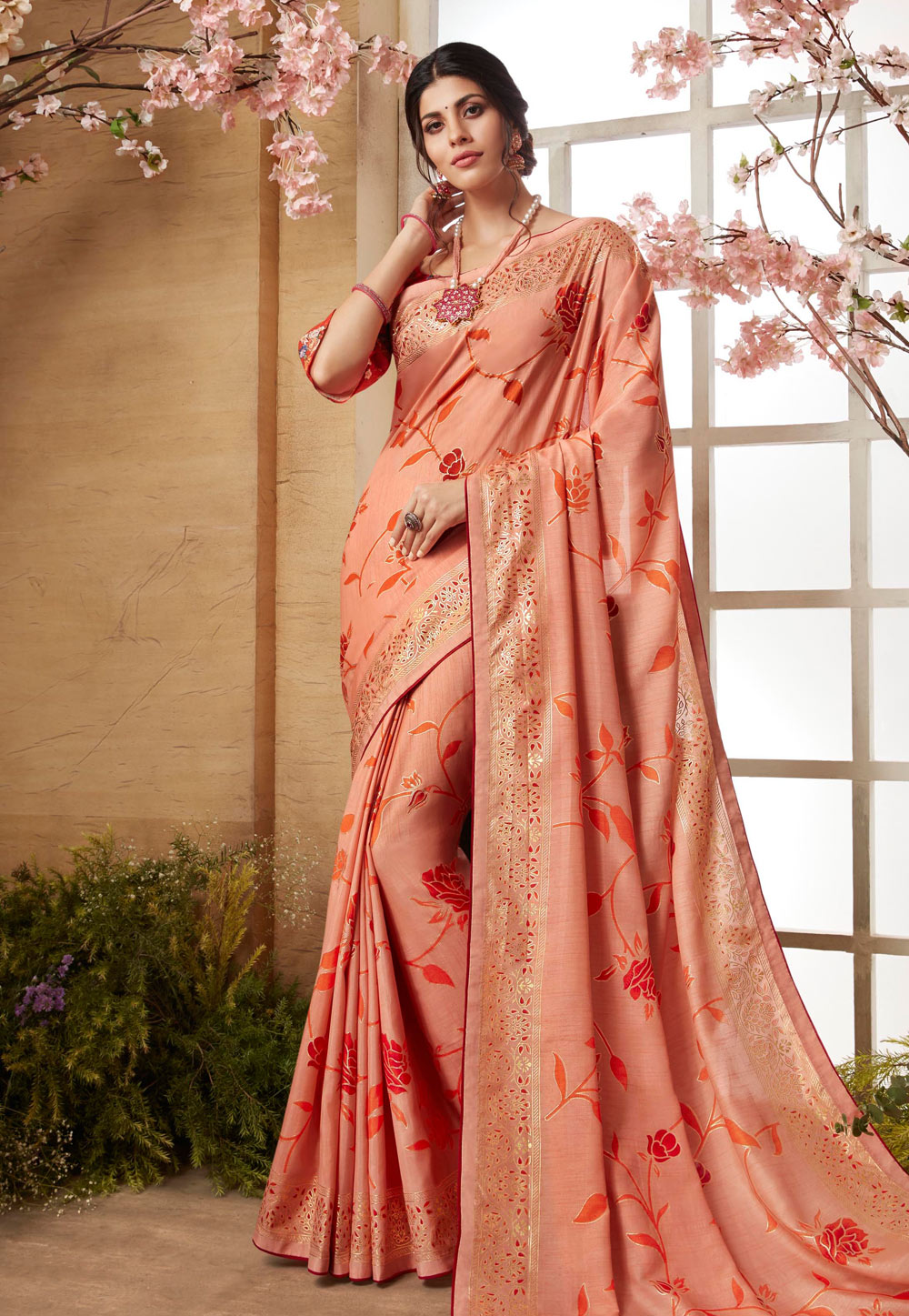 Peach Silk Festival Wear Saree 179107