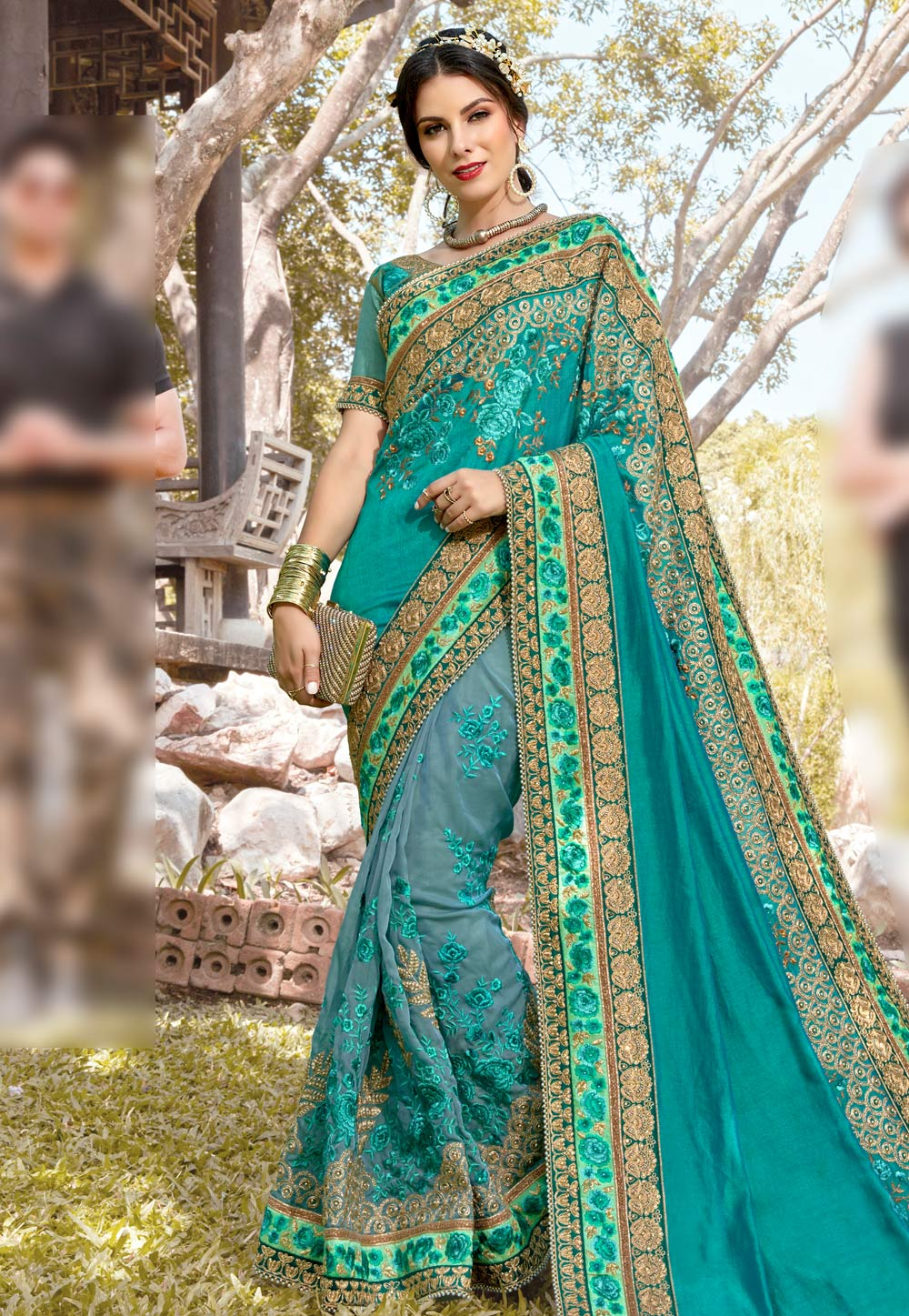 Turquoise Georgette Embroidered Half and Half Saree 182385