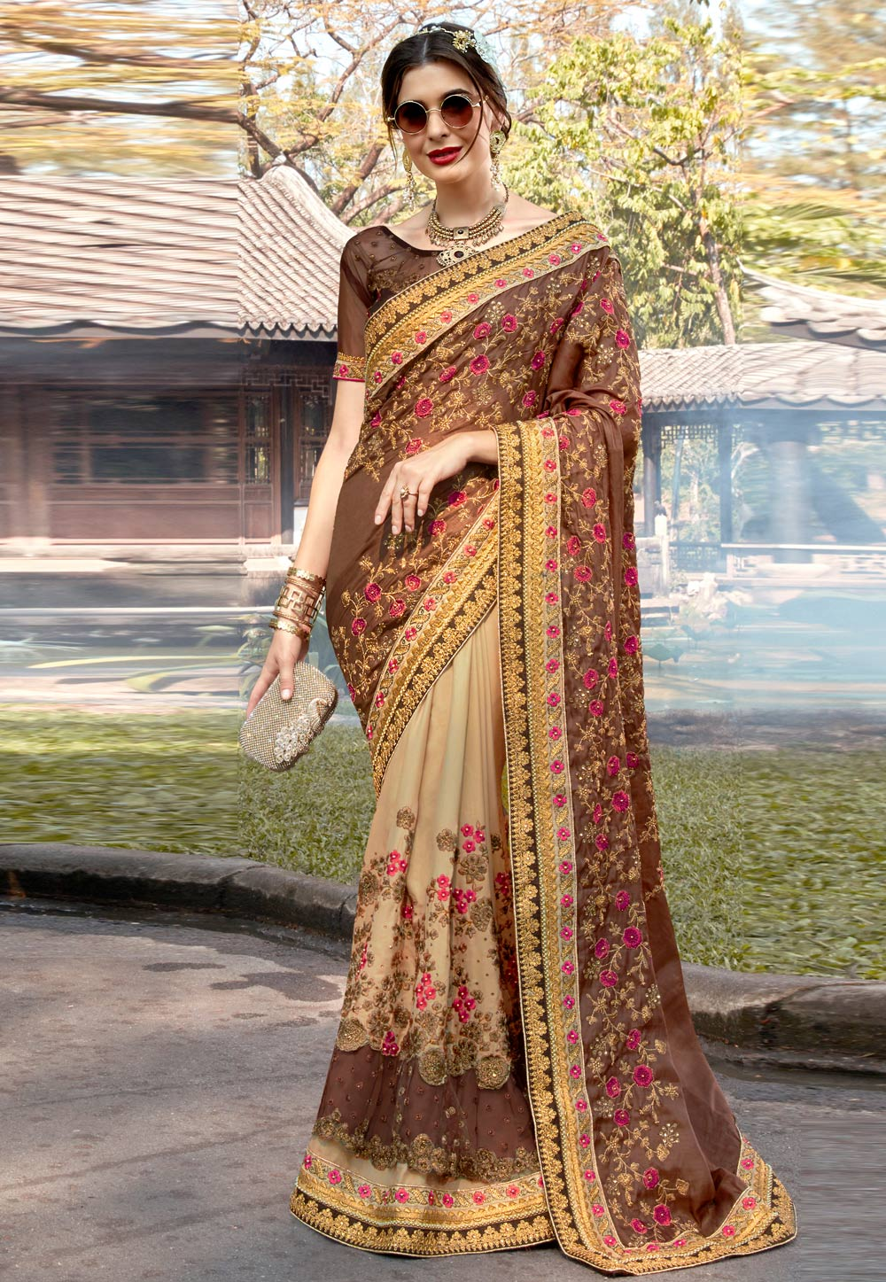 Brown Georgette Embroidered Half and Half Saree 182389