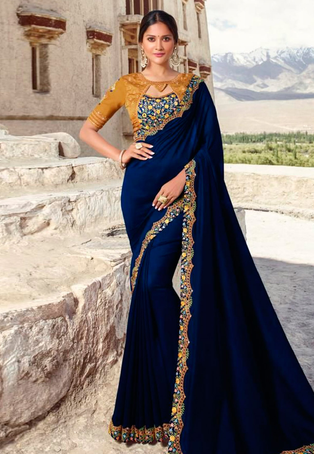 Blue Barfi Silk Party Wear Saree 186803
