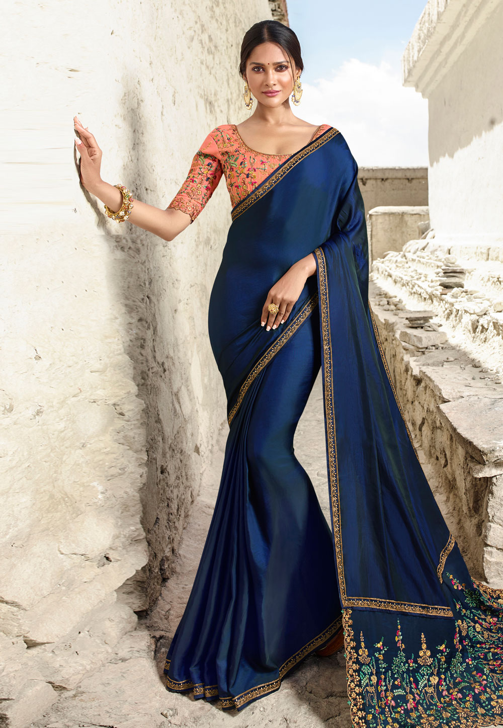Blue Barfi Silk Embroidered Saree With Blouse 181881