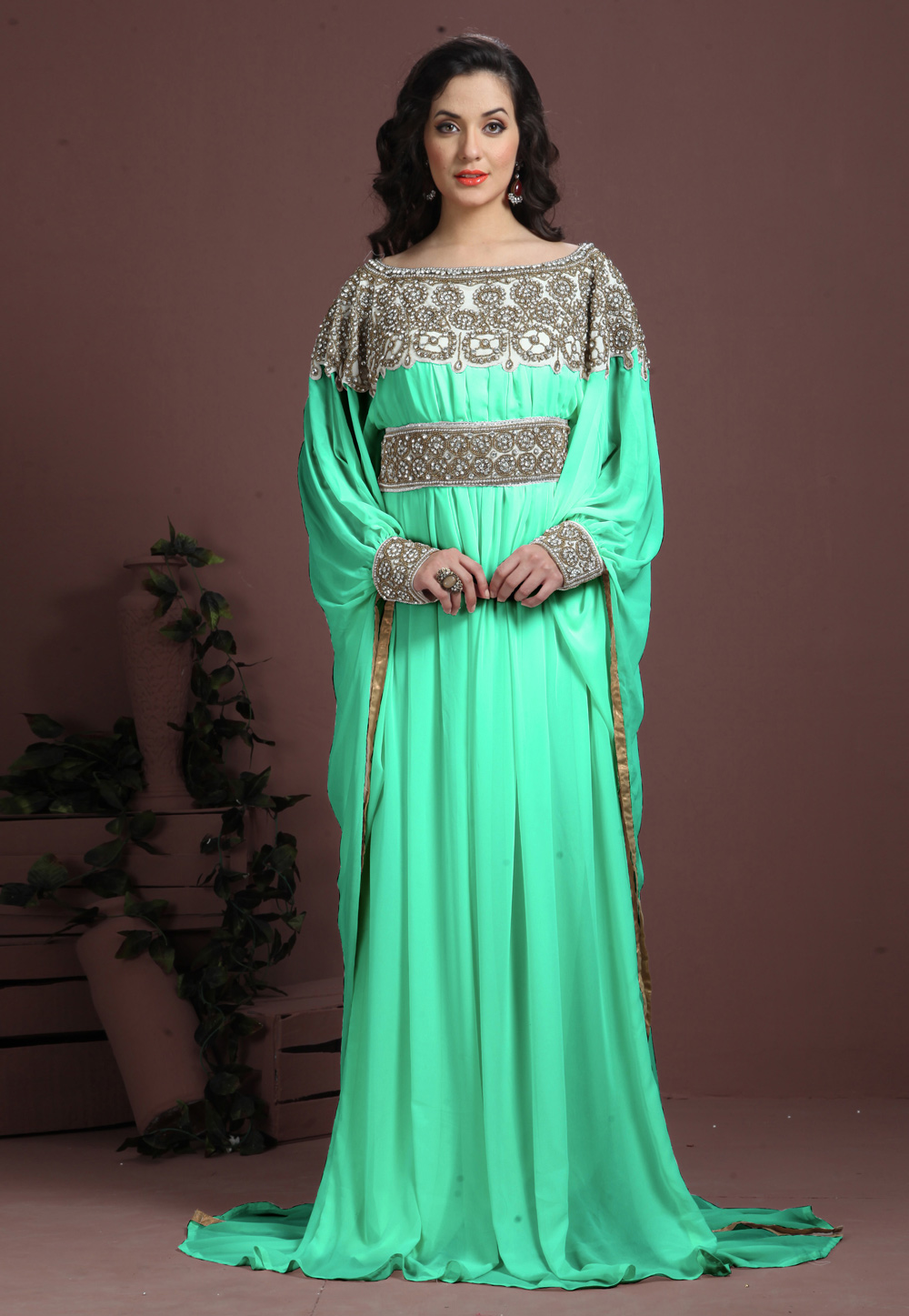 Light Green Georgette Embroidered Readymade Kaftan 194960