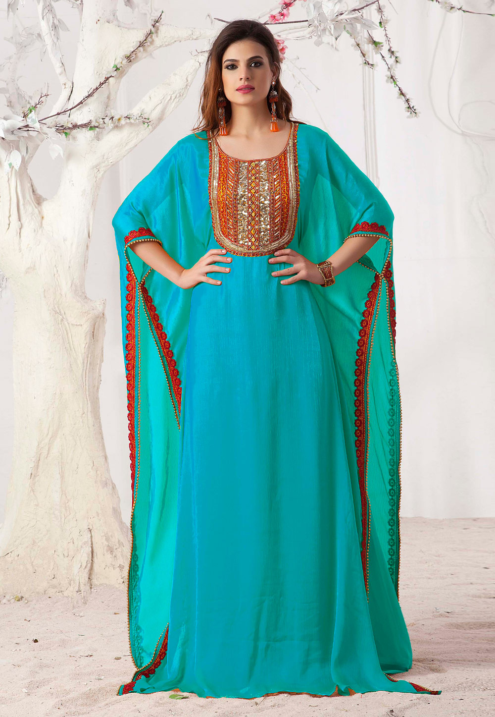 Turquoise Blue Satin Embroidered Readymade Farasha 194963