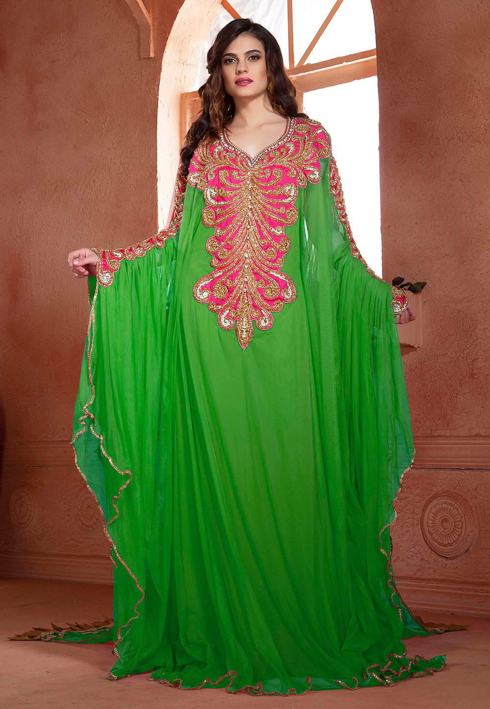 Green Net Embroidered Readymade Farasha 194966