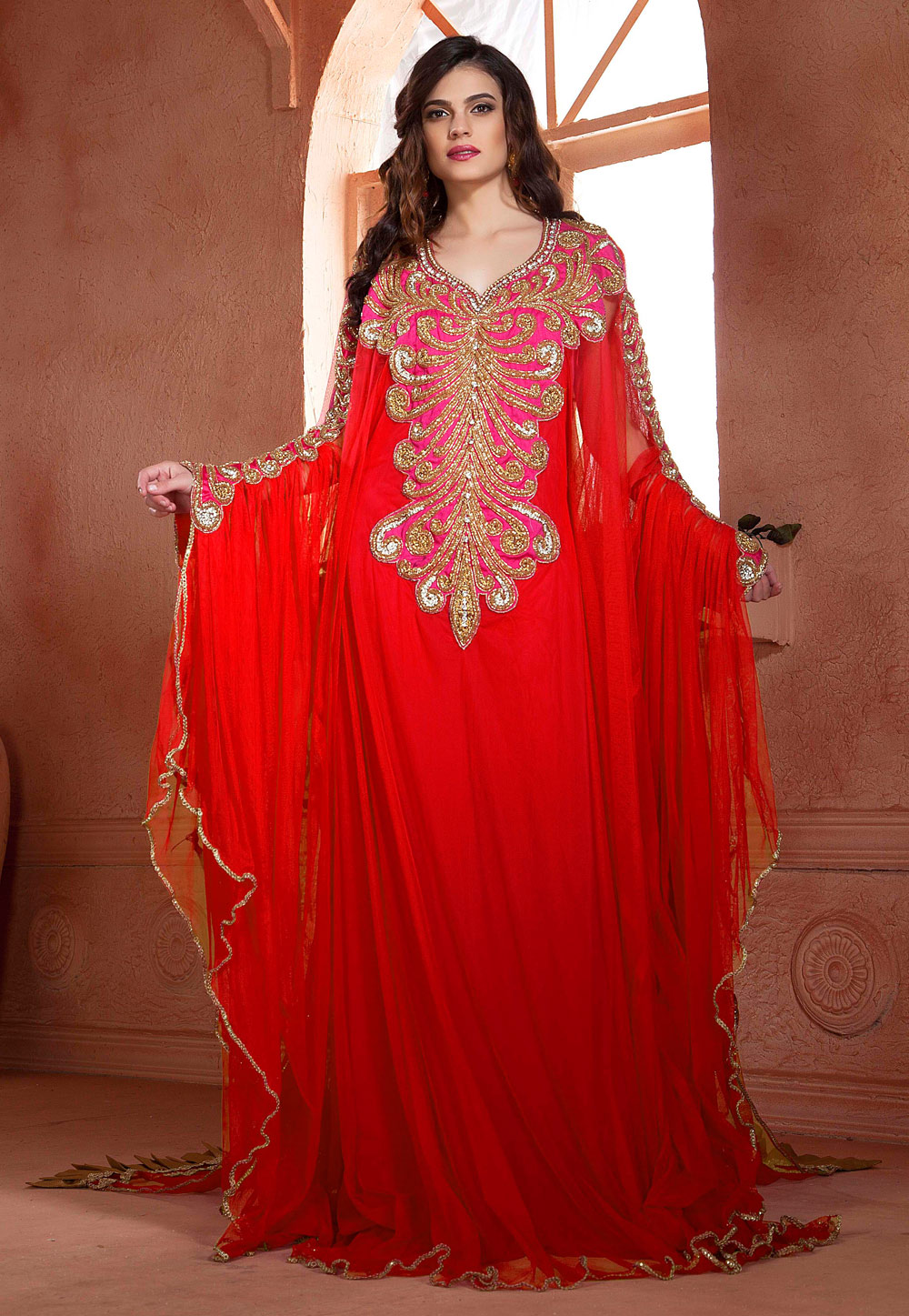 Red Net Embroidered Readymade Farasha 194967