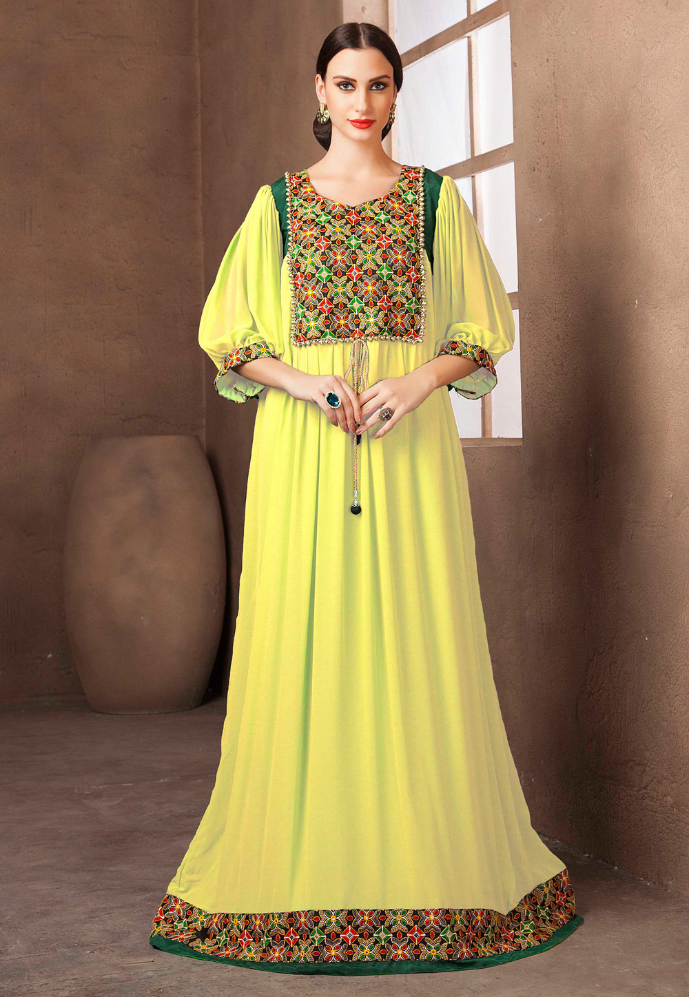 Yellow Georgette Embroidered Readymade Kaftan 194973