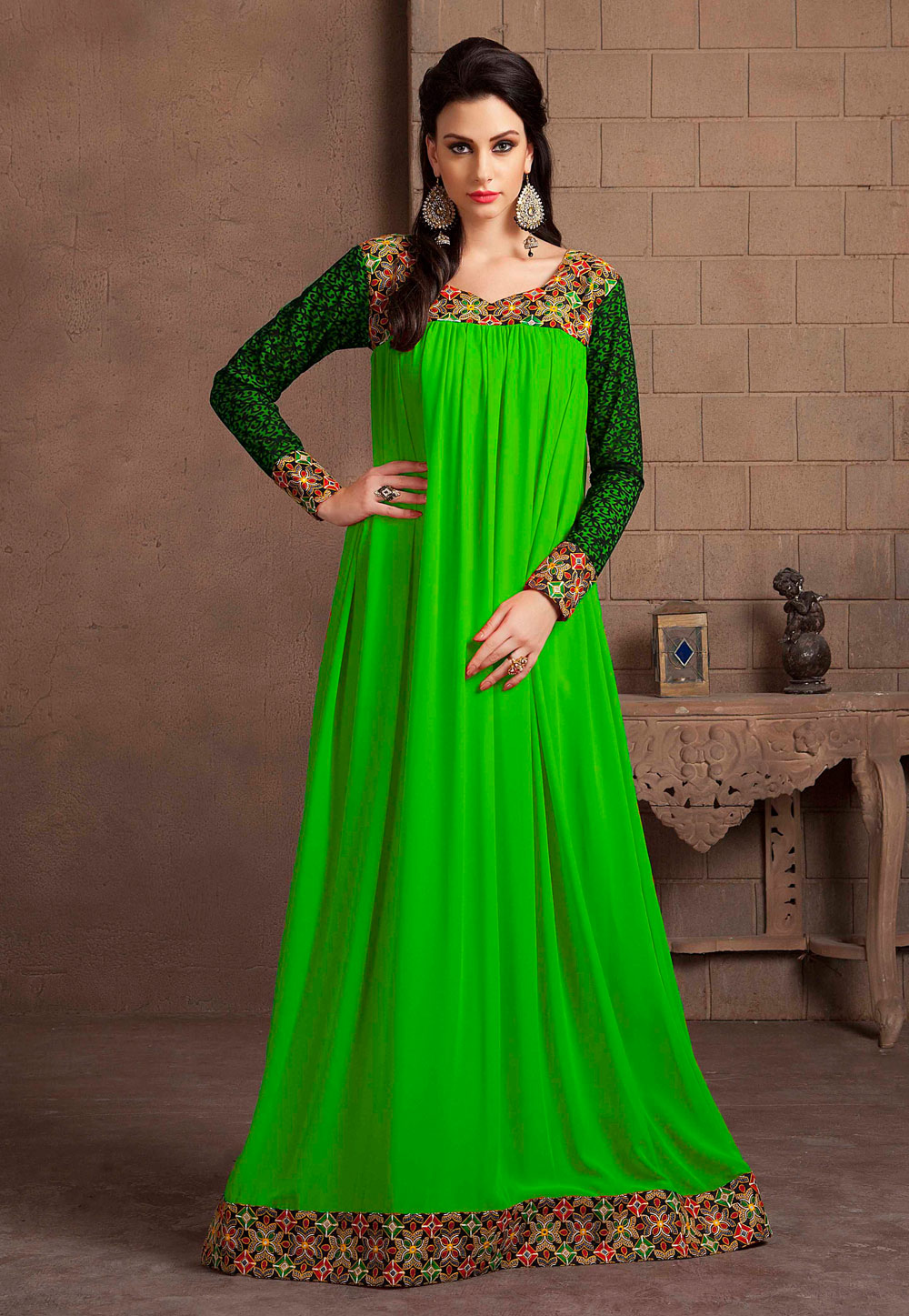 Green Georgette Embroidered Readymade Kaftan 194977