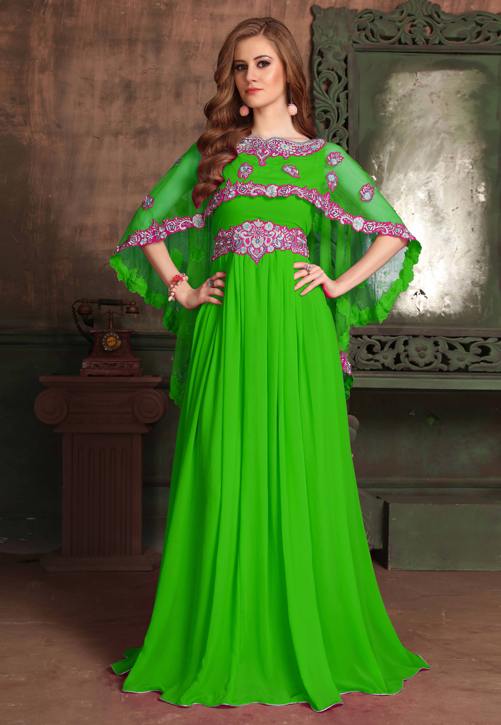 Green Georgette Embroidered Readymade Kaftan 194983