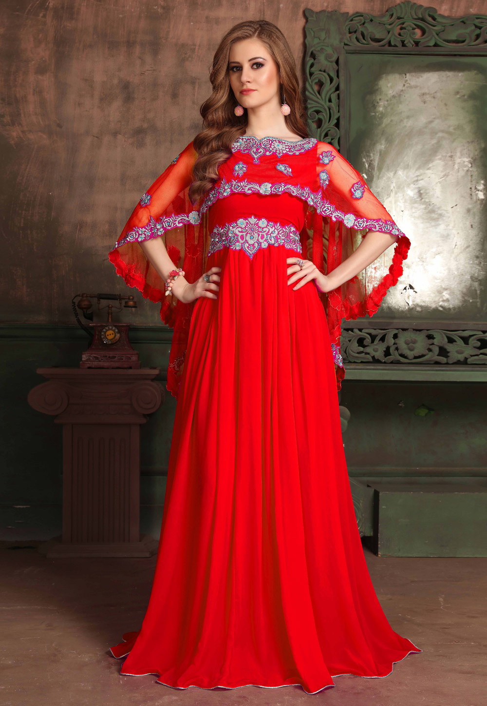 Red Georgette Embroidered Readymade Kaftan 194984