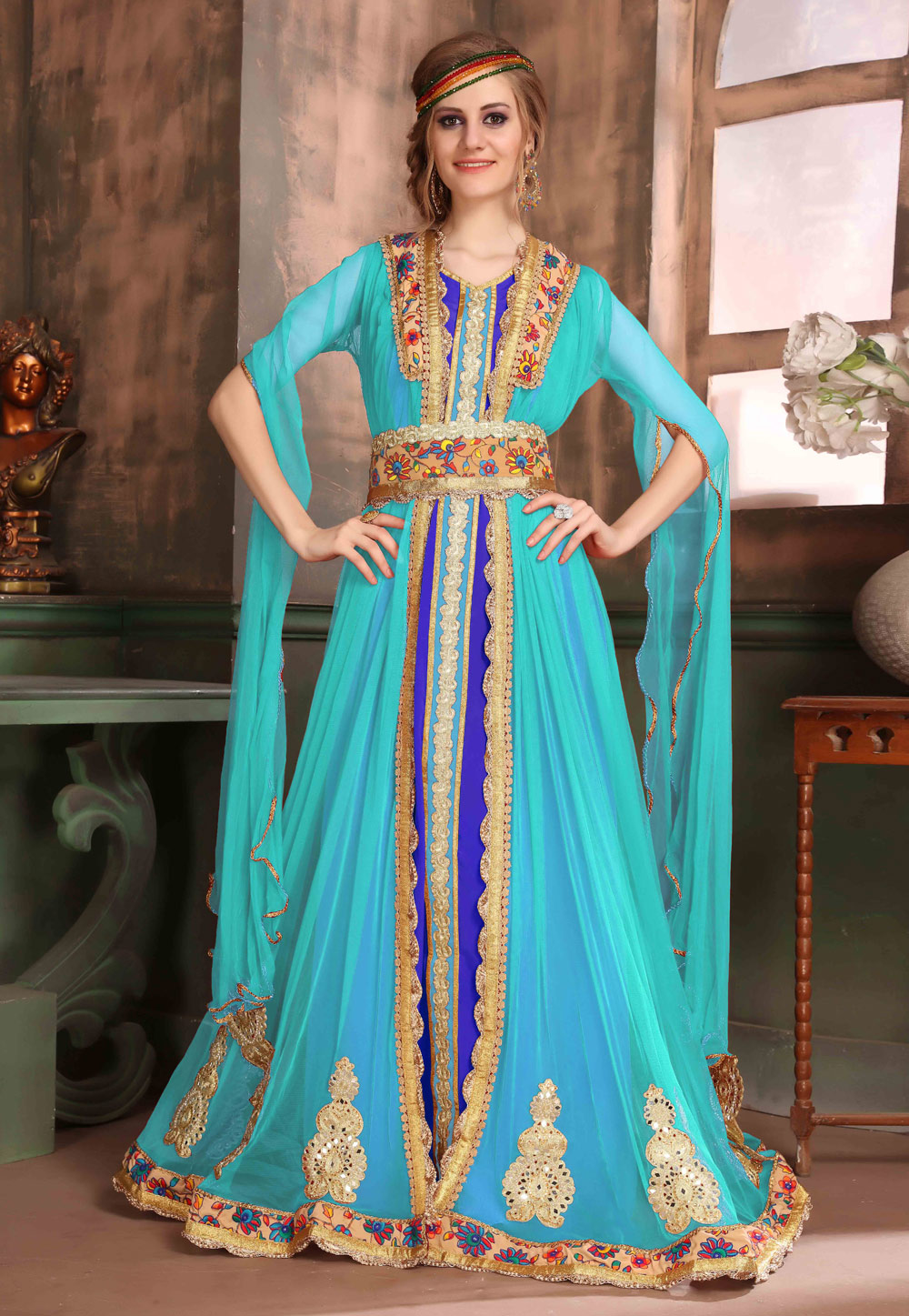 Aqua Blue Crepe Embroidered Readymade Kaftan 194989