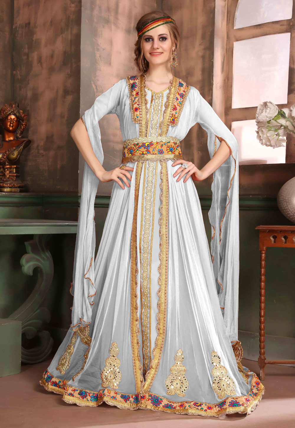 Off White Crepe Embroidered Readymade Kaftan 194990