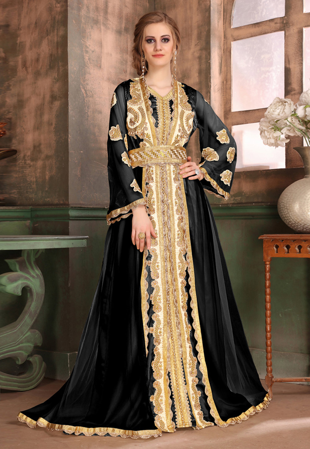 Black Satin Embroidered Readymade Kaftan 194991