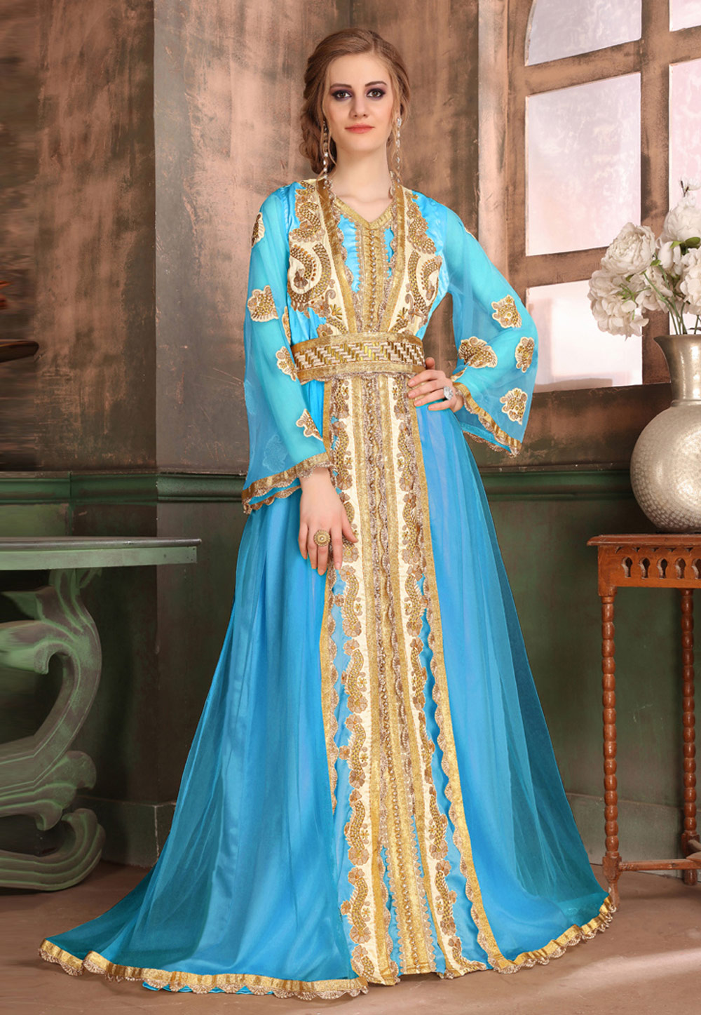 Sky Blue Satin Embroidered Readymade Kaftan 194993