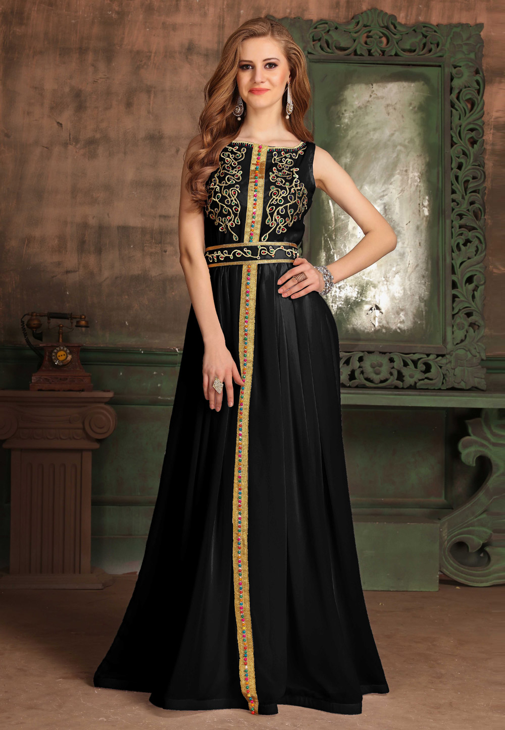 Black Georgette Embroidered Readymade Fustan 194995
