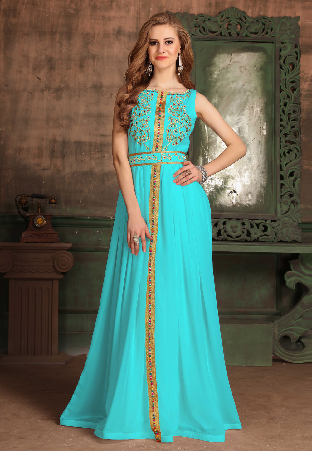 Aqua Georgette Embroidered Readymade Fustan 194997