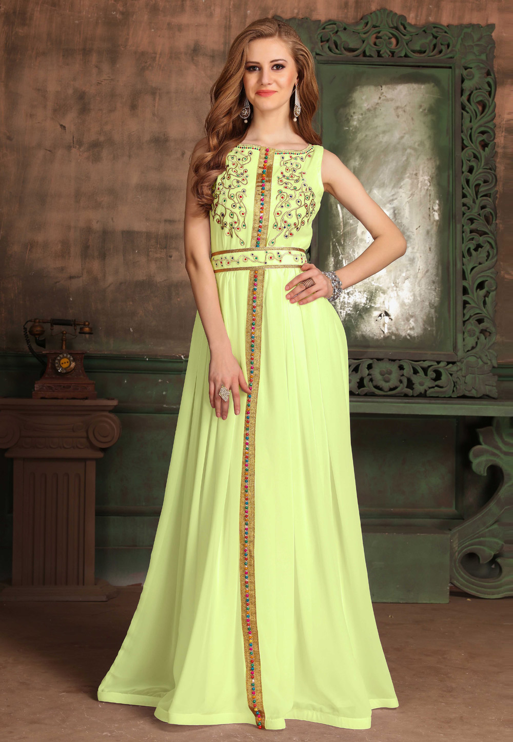 Yellow Georgette Embroidered Readymade Fustan 194998