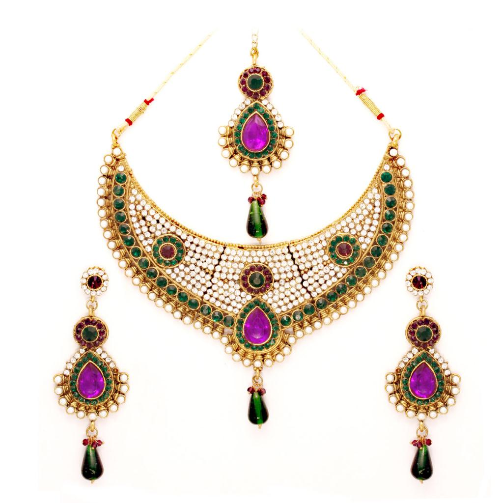 Green and Purple Bridal Necklace Set with Earring and Mang Tikka 24065
