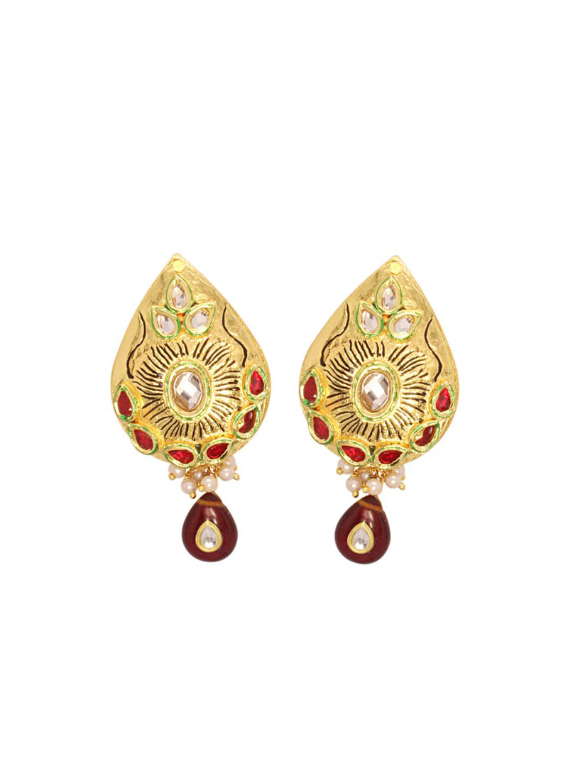 Golden and Red Kundan Studded Leaf Style Earring 26773