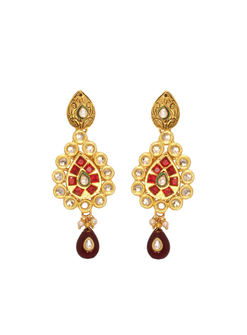 Red Stone Studded with kundan Earring 26774