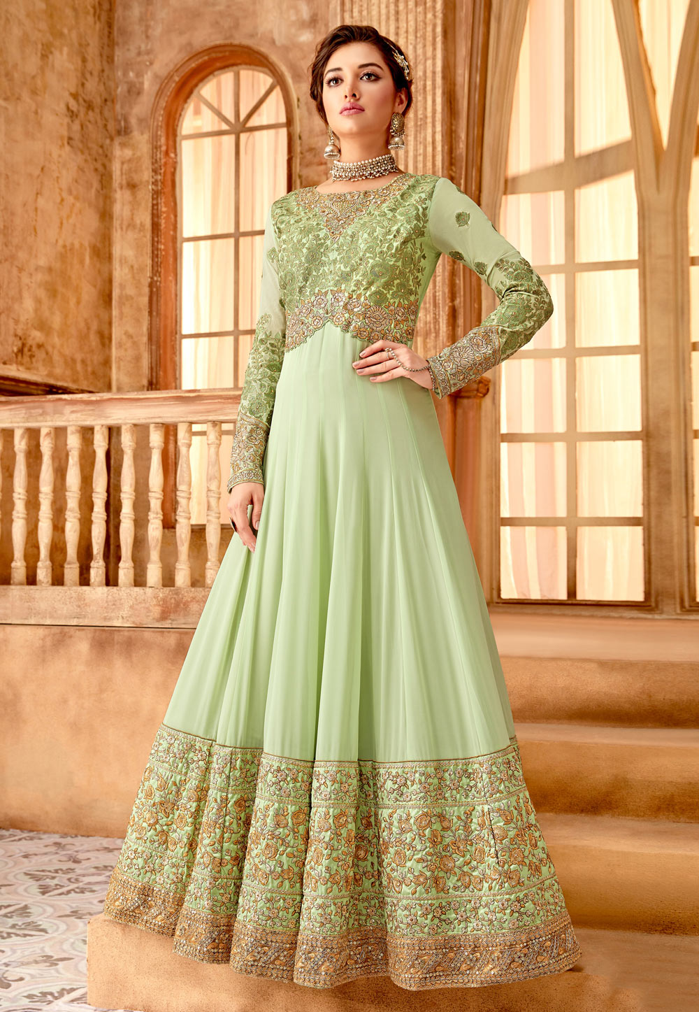 Light Green Georgette Embroidered Abaya Style Anarkali Suit 172586