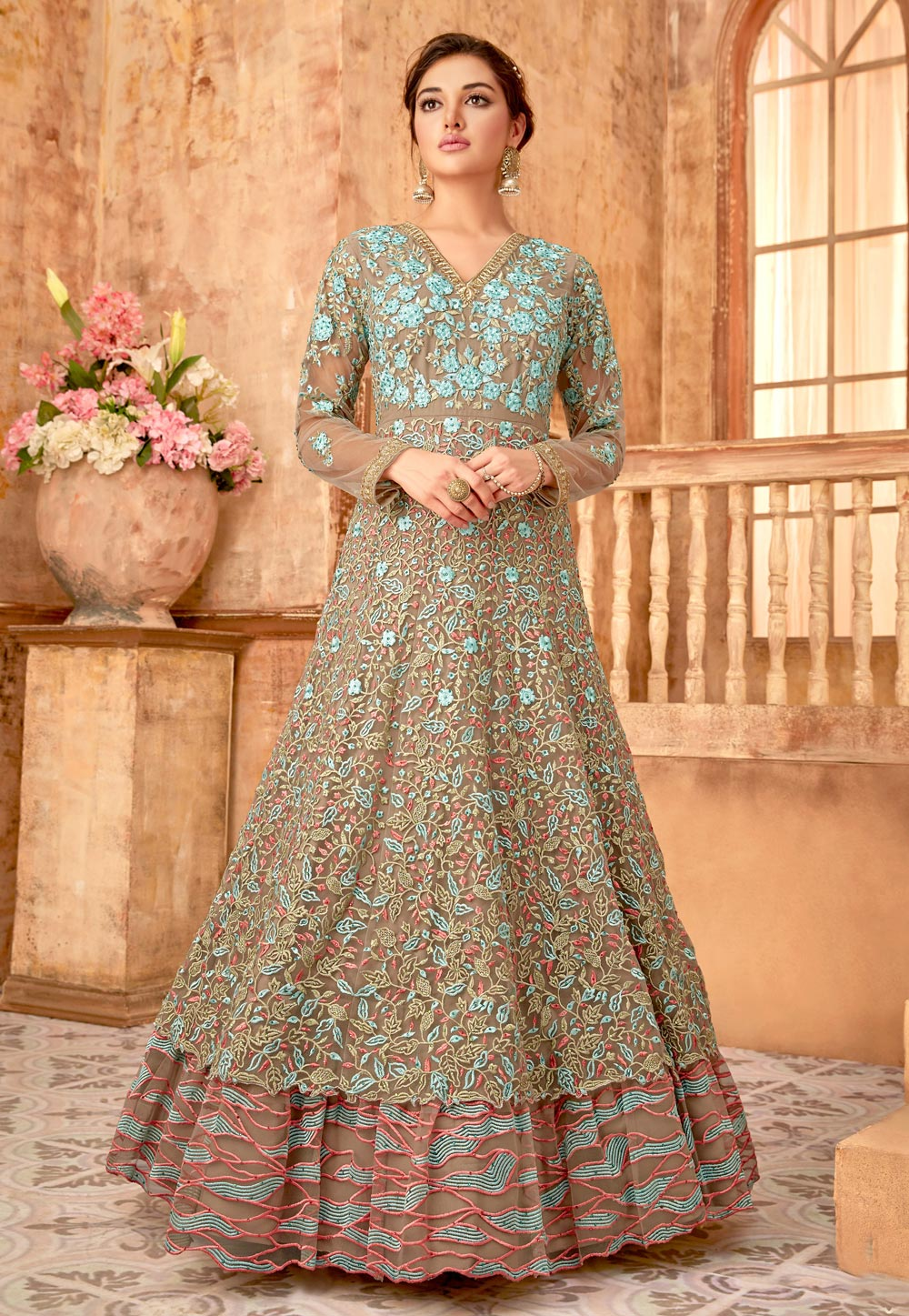 Beige Net Embroidered Long Anarkali Suit 172589