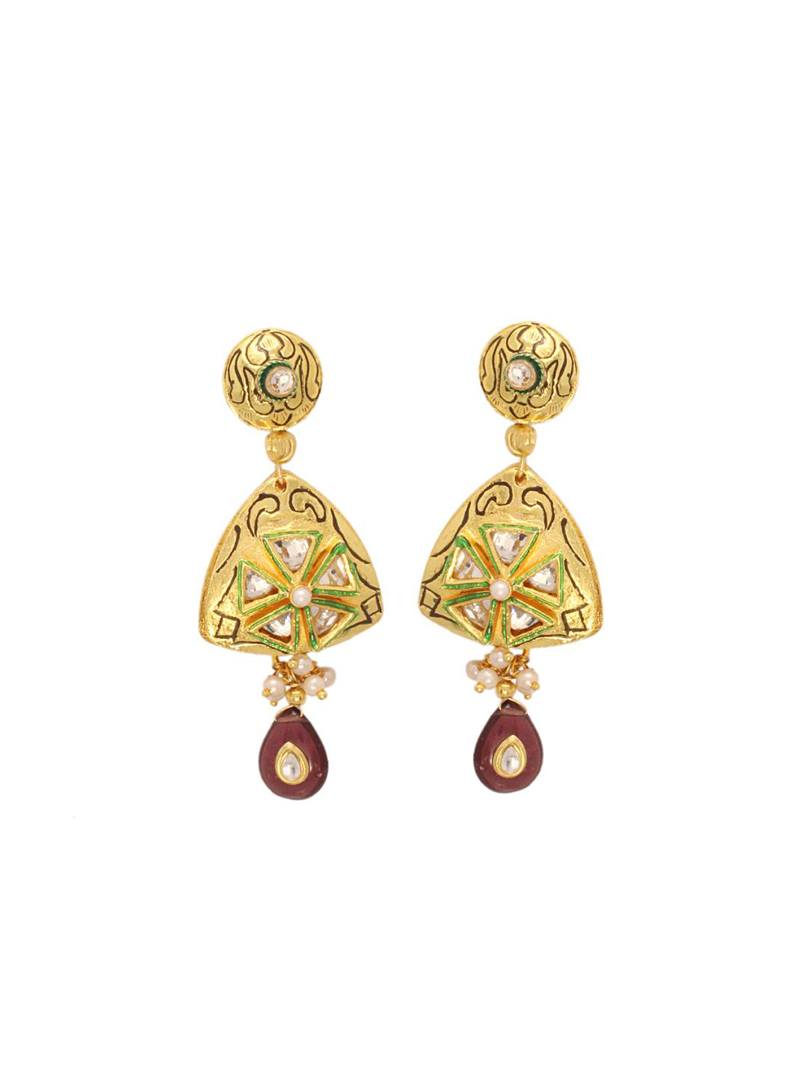 Golden Bead and Stone Studded Earrings 26780