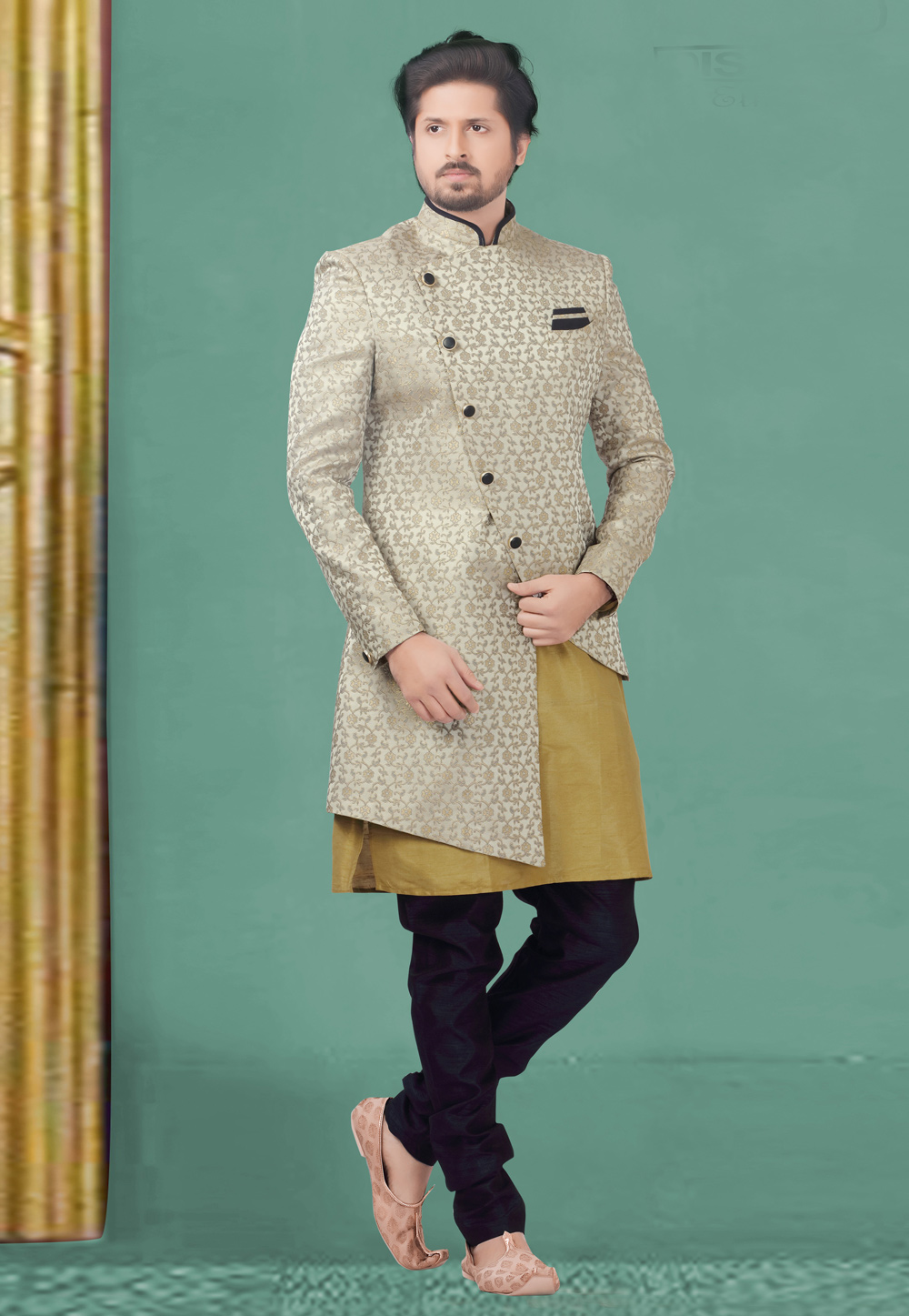 Grey Jacquard Readymade Double Layered Indo Western Suit 180440