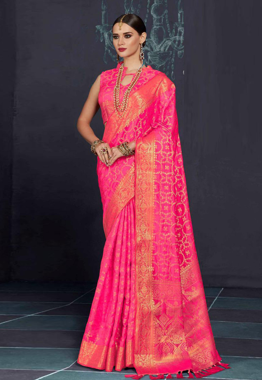 Magenta Silk Saree With Blouse 157528