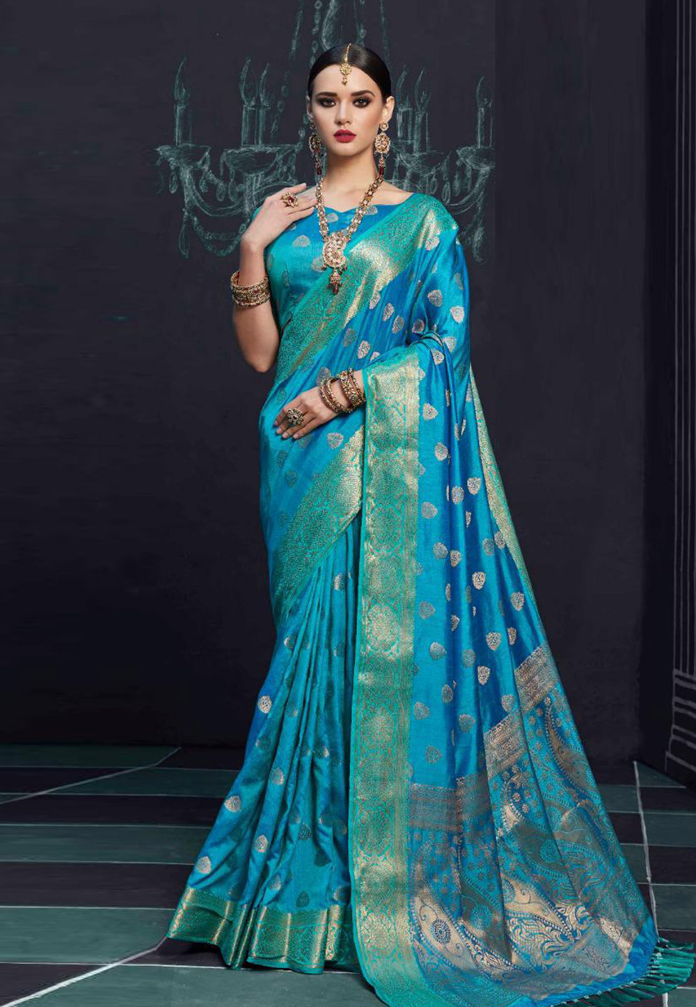 Blue Silk Festival Wear Saree 157533