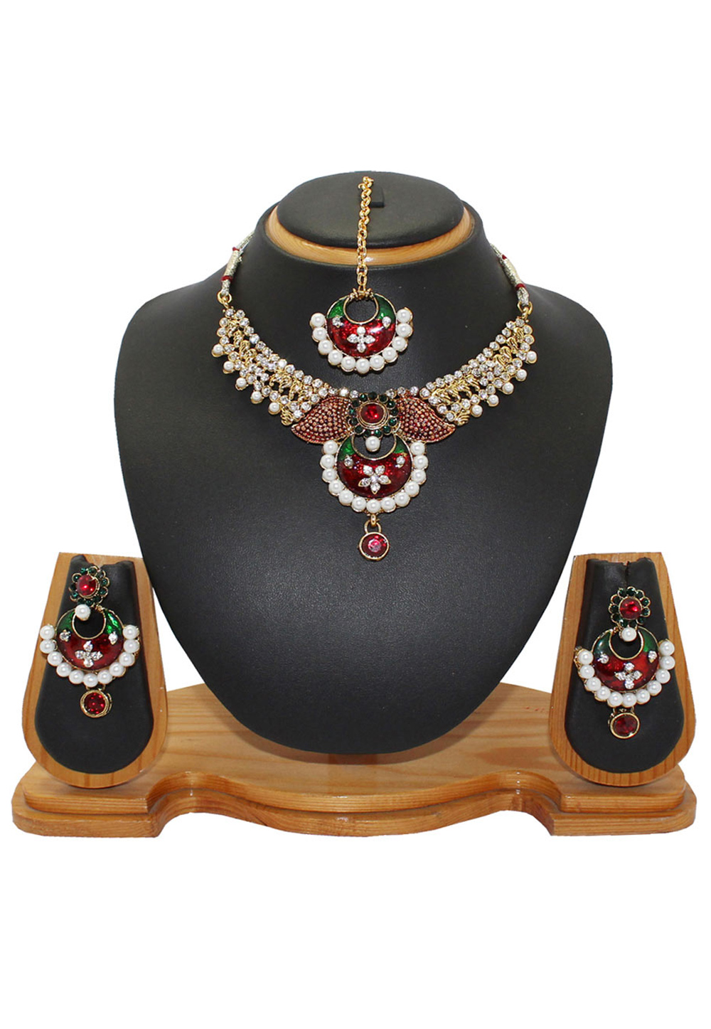 Maroon Alloy Austrian Diamonds Necklace With Earrings and Maang Tikka 64332