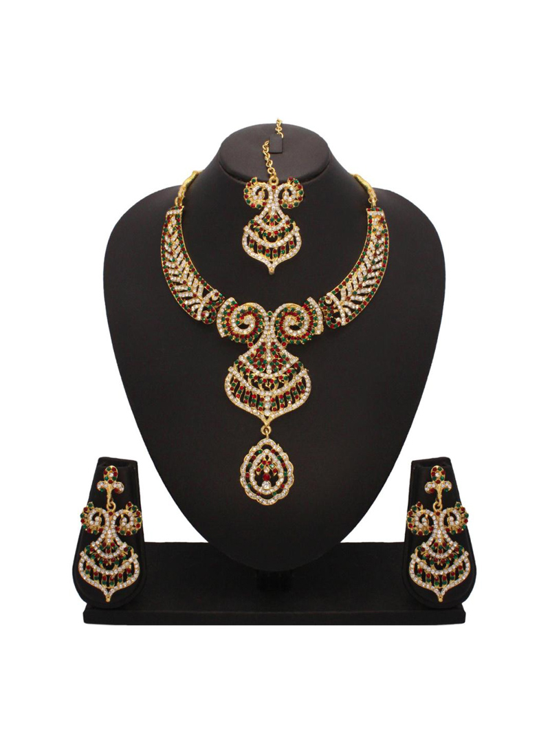 Red and Green Stone Studded Necklace Set with Mang Tikka 26821
