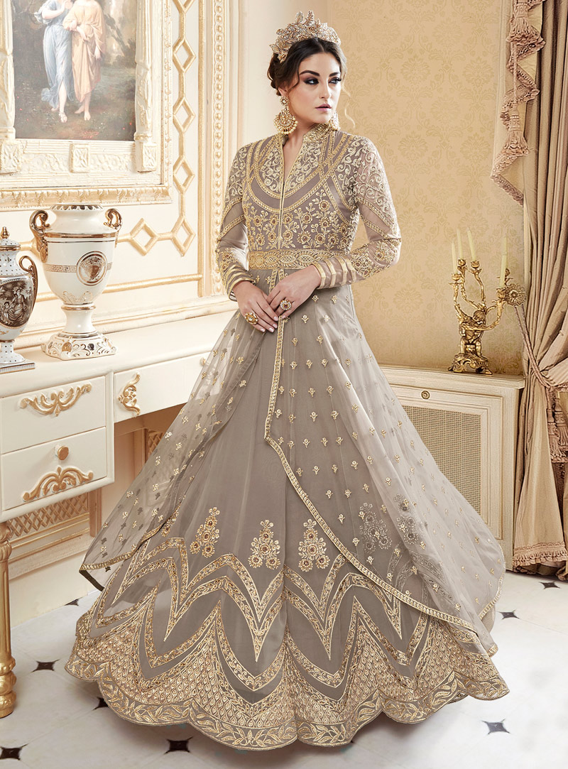 Brown Net Floor Length Anarkali Suit 126707