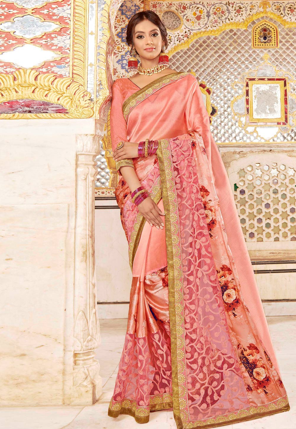 Pink Silk Festival Wear Saree 182211