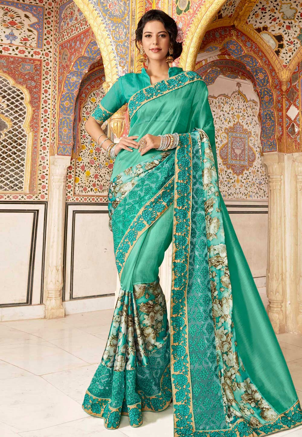 Sea Green Silk Saree With Blouse 182212