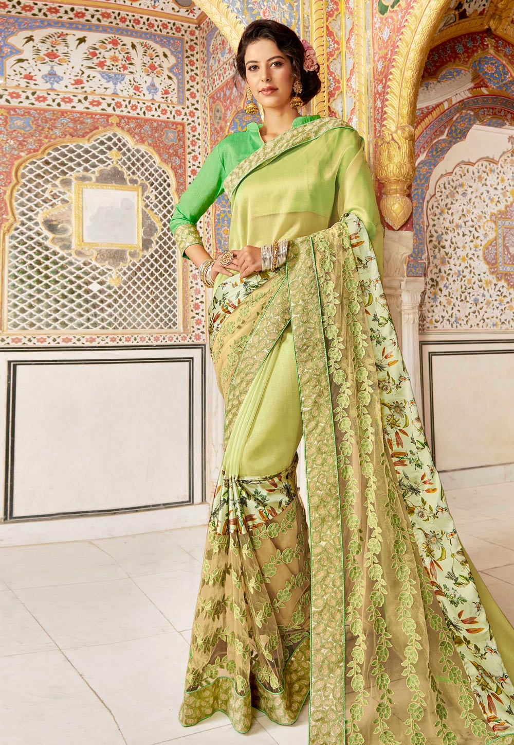Light Green Silk Festival Wear Saree 182215
