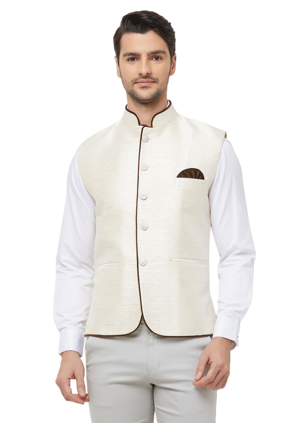 Cream Silk Readymade Modi Jacket 181944